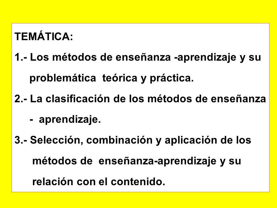 TEMÁTICA: 1.- Los métodos de enseñanza -aprendizaje y su problemática teórica y práctica.