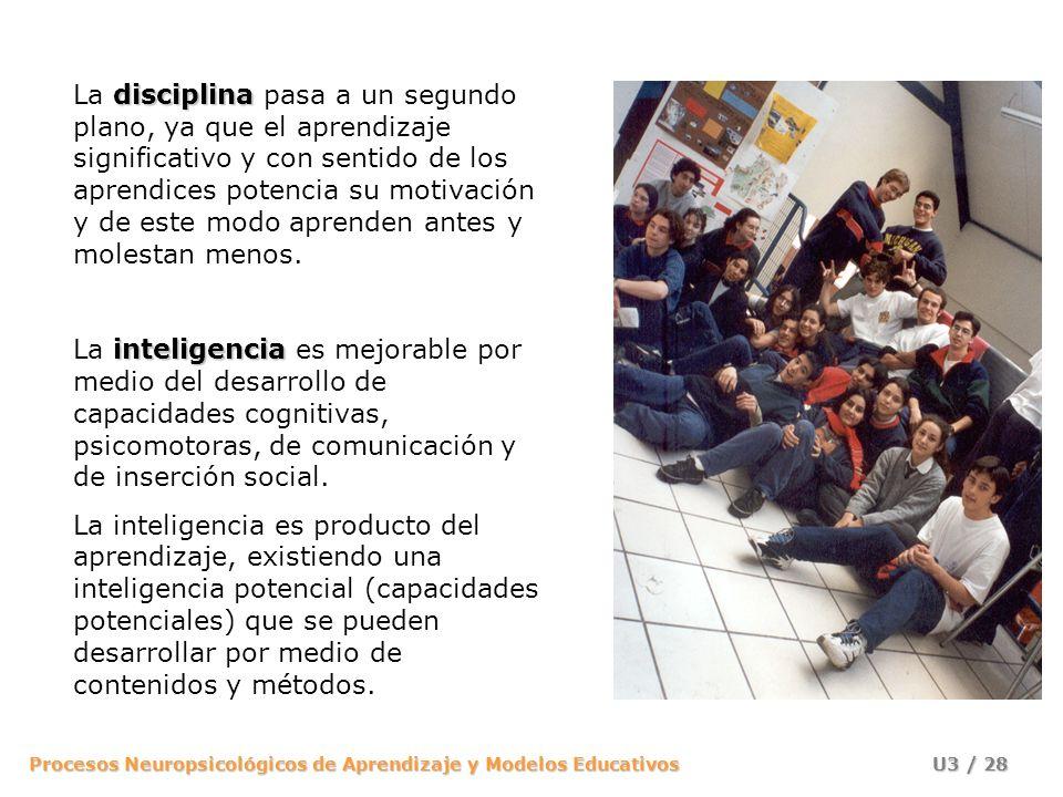 Procesos Neuropsicológicos de Aprendizaje y Modelos Educativos U3 / 27 modelo de enseñanza El modelo de enseñanza está centrada en procesos y por ello