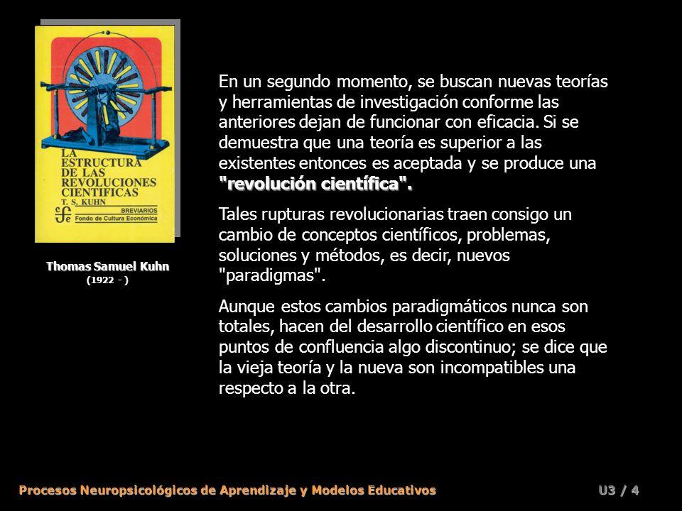 Procesos Neuropsicológicos de Aprendizaje y Modelos Educativos U3 / 3 Thomas Samuel Kuhn (1922 - ) La estructura de las revoluciones científicas En 19