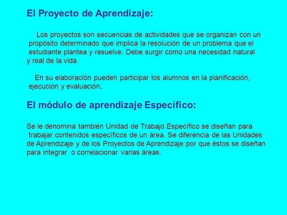 El Proyecto de Aprendizaje: Los proyectos son secuencias de actividades que se organizan con un propósito determinado que implica la resolución de un problema que el estudiante plantea y resuelve.