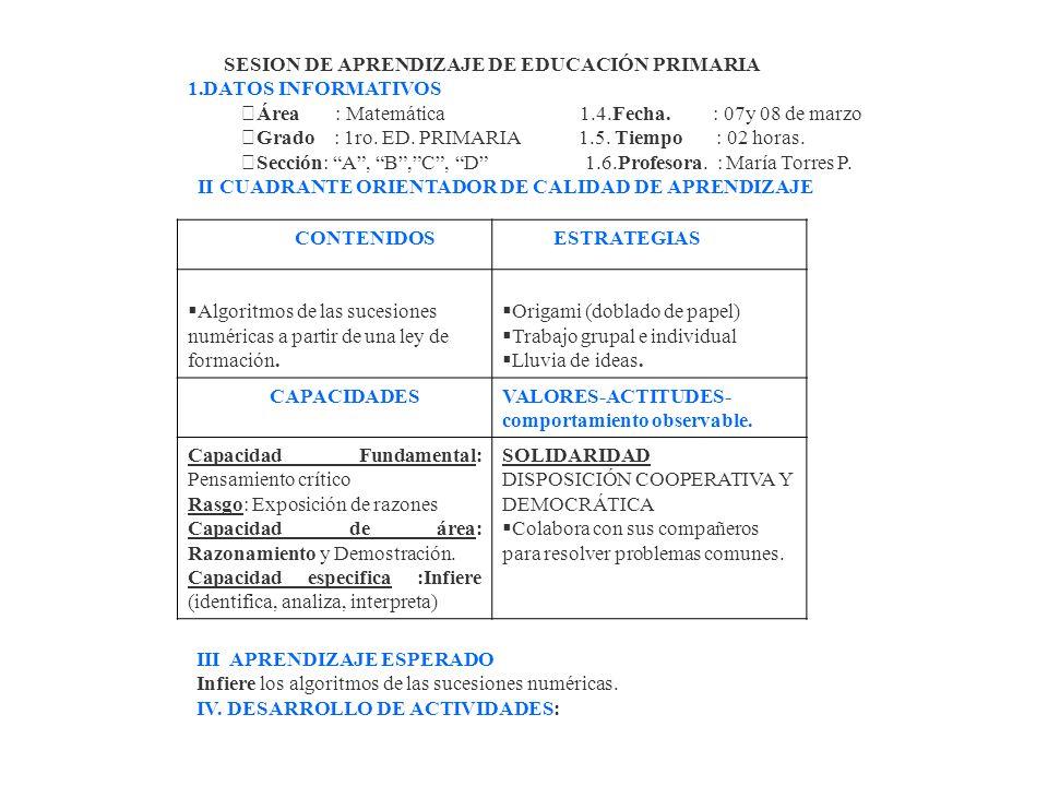 SESION DE APRENDIZAJE DE EDUCACIÓN PRIMARIA 1.DATOS INFORMATIVOS Área : Matemática 1.4.Fecha.