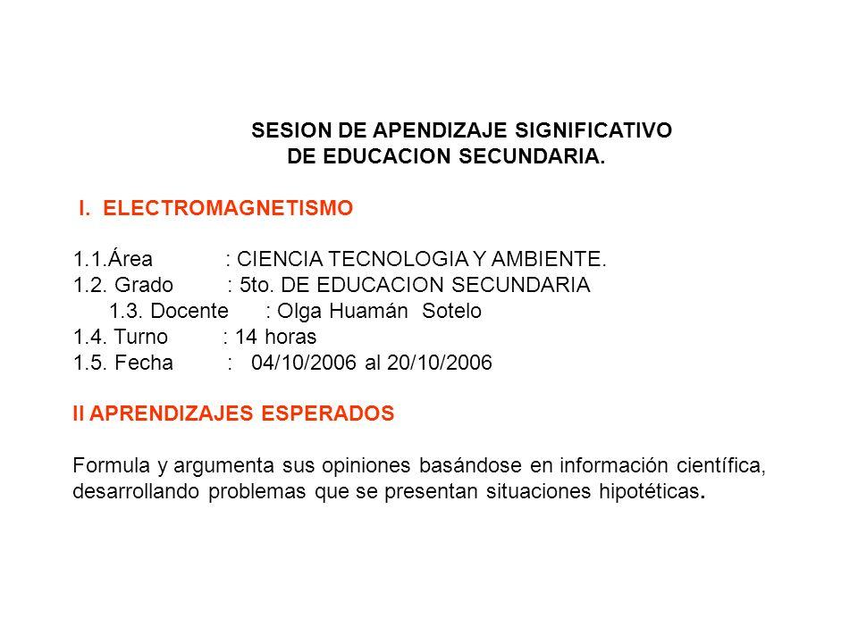 SESION DE APENDIZAJE SIGNIFICATIVO DE EDUCACION SECUNDARIA.