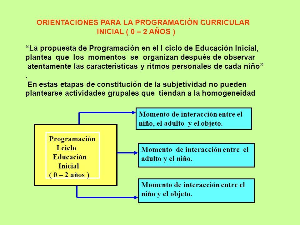 ORIENTACIONES PARA LA PROGRAMACIÓN CURRICULAR INICIAL ( 0 – 2 AÑOS ) La propuesta de Programación en el I ciclo de Educación Inicial, plantea que los momentos se organizan después de observar atentamente las características y ritmos personales de cada niño.