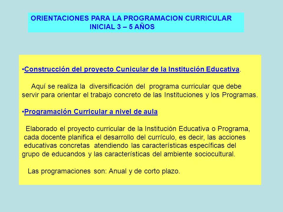 ORIENTACIONES PARA LA PROGRAMACION CURRICULAR INICIAL 3 – 5 AÑOS Construcción del proyecto Cunicular de la Institución Educativa.