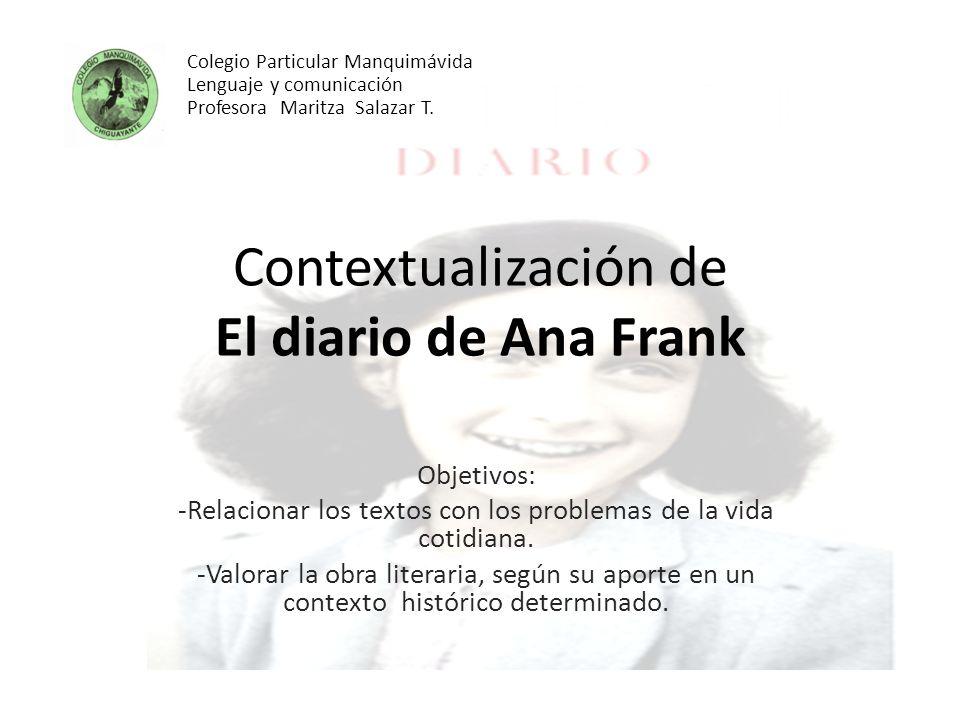 Contextualización de El diario de Ana Frank Objetivos: -Relacionar los textos con los problemas de la vida cotidiana. -Valorar la obra literaria, segú