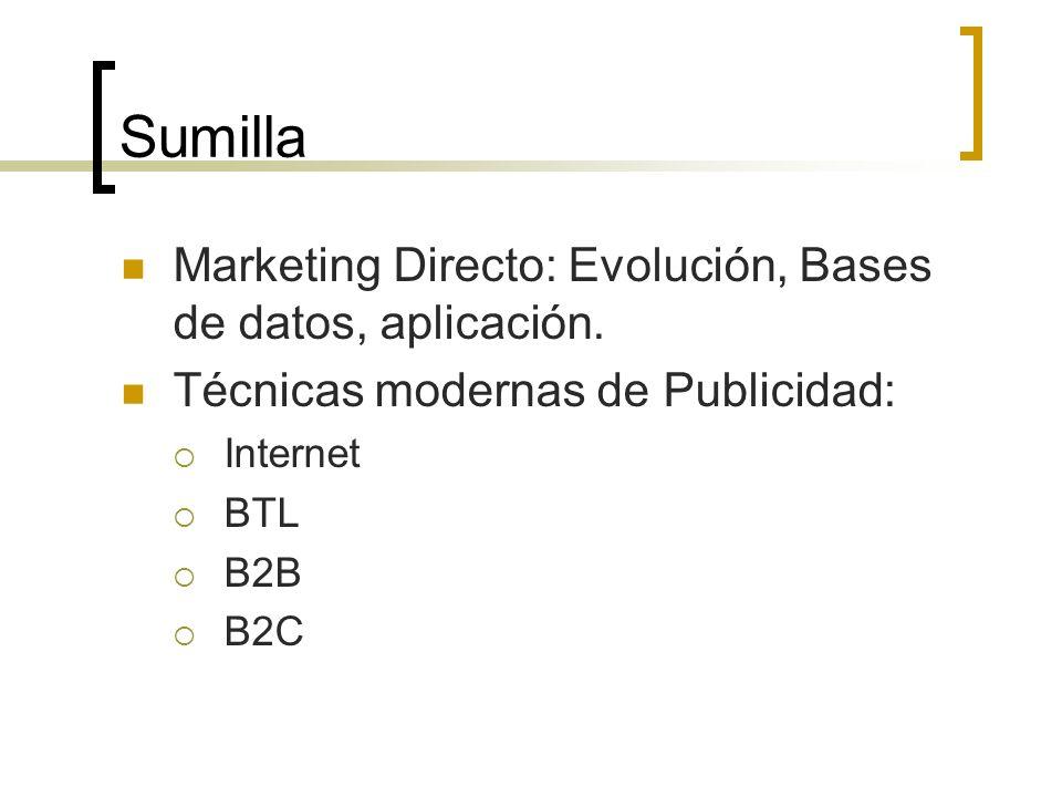 Sumilla Marketing Directo: Evolución, Bases de datos, aplicación. Técnicas modernas de Publicidad: Internet BTL B2B B2C