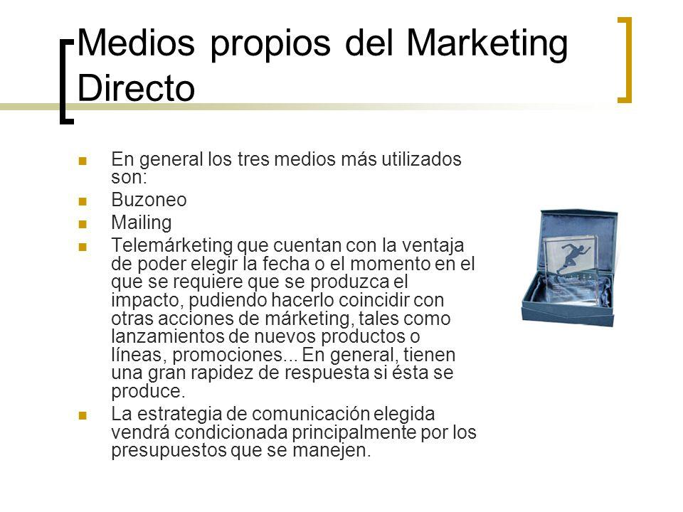 Medios propios del Marketing Directo En general los tres medios más utilizados son: Buzoneo Mailing Telemárketing que cuentan con la ventaja de poder
