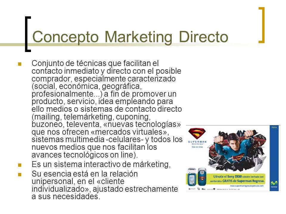 Concepto Marketing Directo Conjunto de técnicas que facilitan el contacto inmediato y directo con el posible comprador, especialmente caracterizado (s