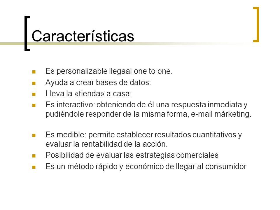 Características Es personalizable llegaal one to one. Ayuda a crear bases de datos: Lleva la «tienda» a casa: Es interactivo: obteniendo de él una res