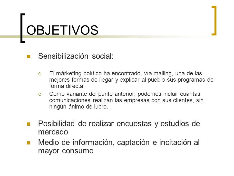 OBJETIVOS Sensibilización social: El márketing político ha encontrado, vía mailing, una de las mejores formas de llegar y explicar al pueblo sus progr