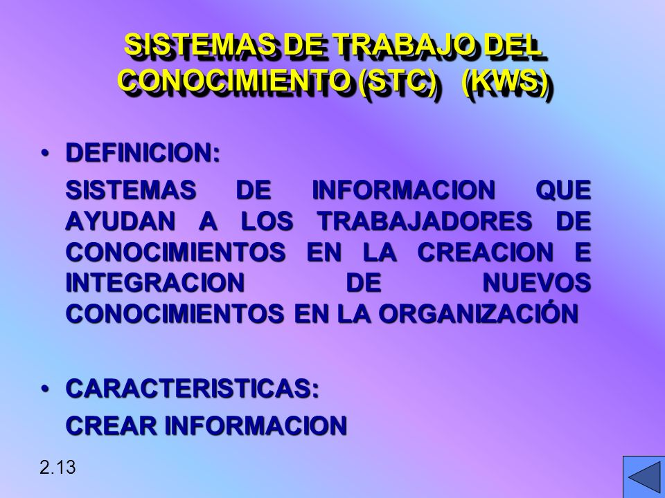 DEFINICION:DEFINICION: SISTEMAS DE INFORMACION QUE AYUDAN A LOS TRABAJADORES DE CONOCIMIENTOS EN LA CREACION E INTEGRACION DE NUEVOS CONOCIMIENTOS EN LA ORGANIZACIÓN CARACTERISTICAS:CARACTERISTICAS: CREAR INFORMACION 2.13 SISTEMAS DE TRABAJO DEL CONOCIMIENTO (STC) (KWS)