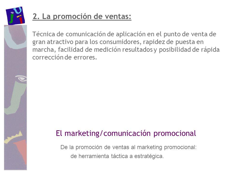 2. La promoción de ventas: Técnica de comunicación de aplicación en el punto de venta de gran atractivo para los consumidores, rapidez de puesta en ma