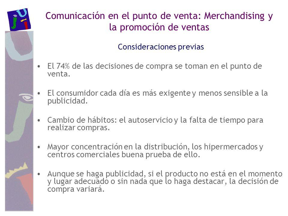 Comunicación en el punto de venta: Merchandising y la promoción de ventas Consideraciones previas El 74% de las decisiones de compra se toman en el pu