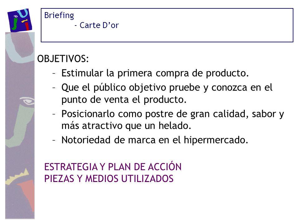 Briefing - Carte Dor OBJETIVOS: –Estimular la primera compra de producto. –Que el público objetivo pruebe y conozca en el punto de venta el producto.