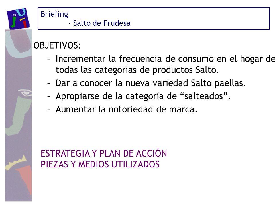 OBJETIVOS: –Incrementar la frecuencia de consumo en el hogar de todas las categorías de productos Salto. –Dar a conocer la nueva variedad Salto paella