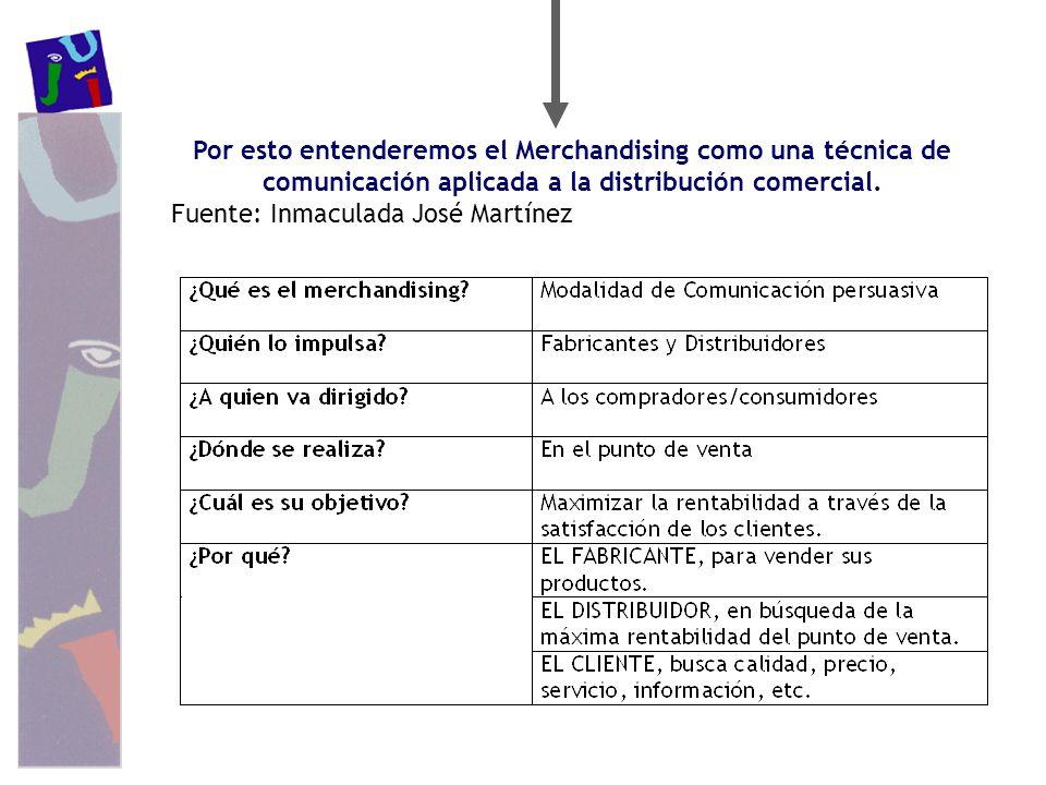 Por esto entenderemos el Merchandising como una técnica de comunicación aplicada a la distribución comercial. Fuente: Inmaculada José Martínez