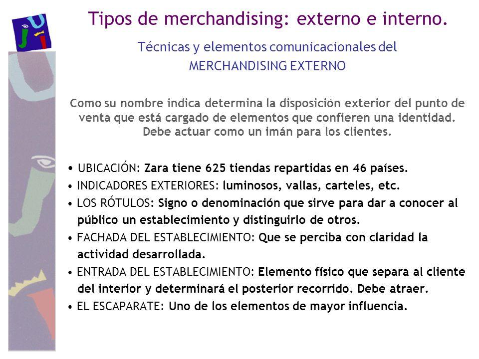 Tipos de merchandising: externo e interno. Técnicas y elementos comunicacionales del MERCHANDISING EXTERNO Como su nombre indica determina la disposic