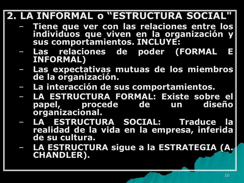 10 2. LA INFORMAL o ESTRUCTURA SOCIAL