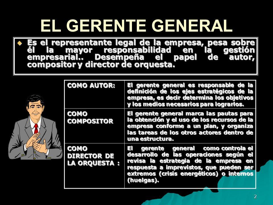 2 EL GERENTE GENERAL Es el representante legal de la empresa, pesa sobre él la mayor responsabilidad en la gestión empresarial.. Desempeña el papel de