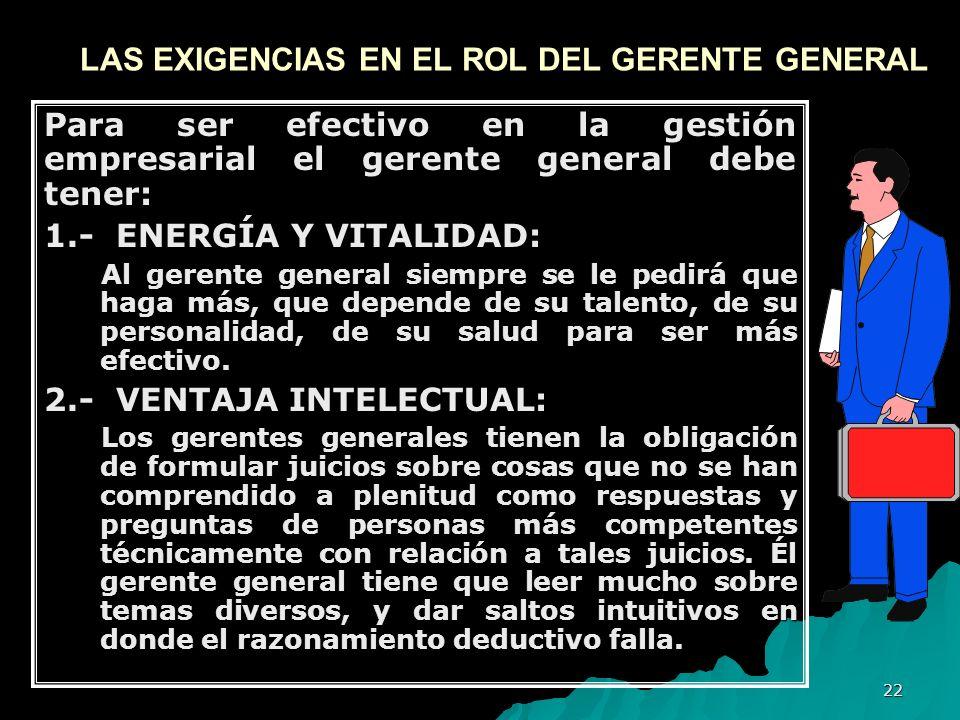 22 LAS EXIGENCIAS EN EL ROL DEL GERENTE GENERAL Para ser efectivo en la gestión empresarial el gerente general debe tener: 1.- ENERGÍA Y VITALIDAD: Al