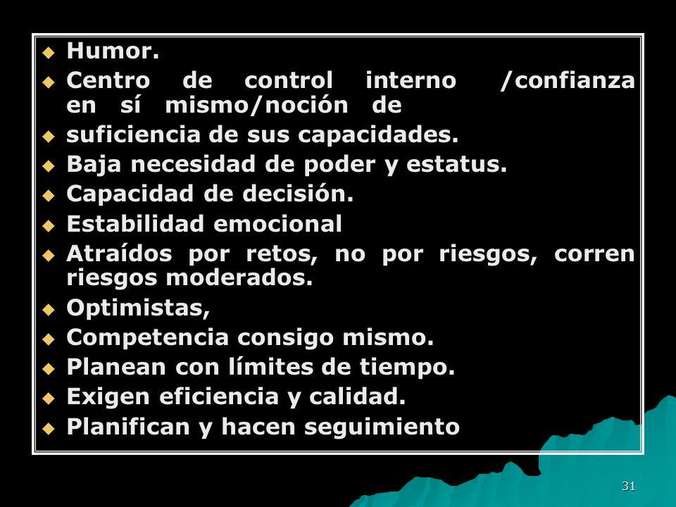 31 Humor. Humor. Centro de control interno /confianza en sí mismo/noción de Centro de control interno /confianza en sí mismo/noción de suficiencia de