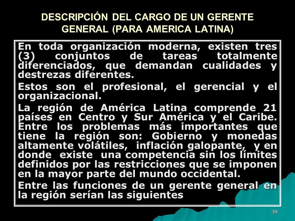 39 DESCRIPCIÓN DEL CARGO DE UN GERENTE GENERAL (PARA AMERICA LATINA) En toda organización moderna, existen tres (3) conjuntos de tareas totalmente dif