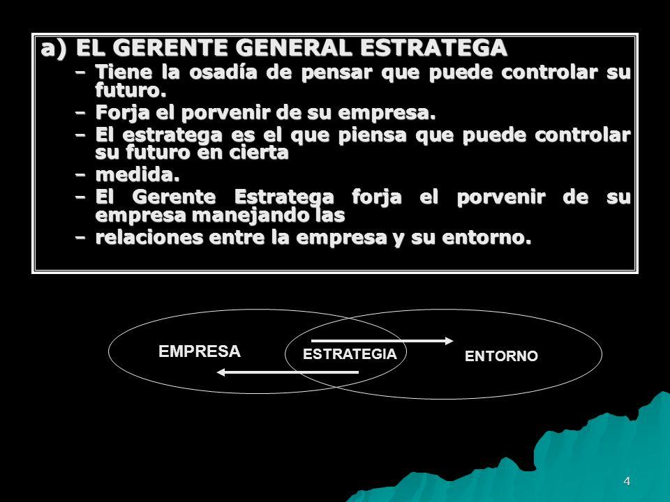4 a) EL GERENTE GENERAL ESTRATEGA –Tiene la osadía de pensar que puede controlar su futuro. –Forja el porvenir de su empresa. –El estratega es el que