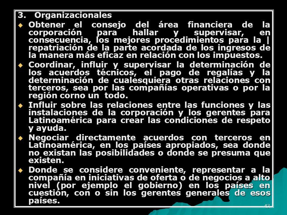 43 3. Organizacionales Obtener el consejo del área financiera de la corporación para hallar y supervisar, en consecuencia, los mejores procedimientos