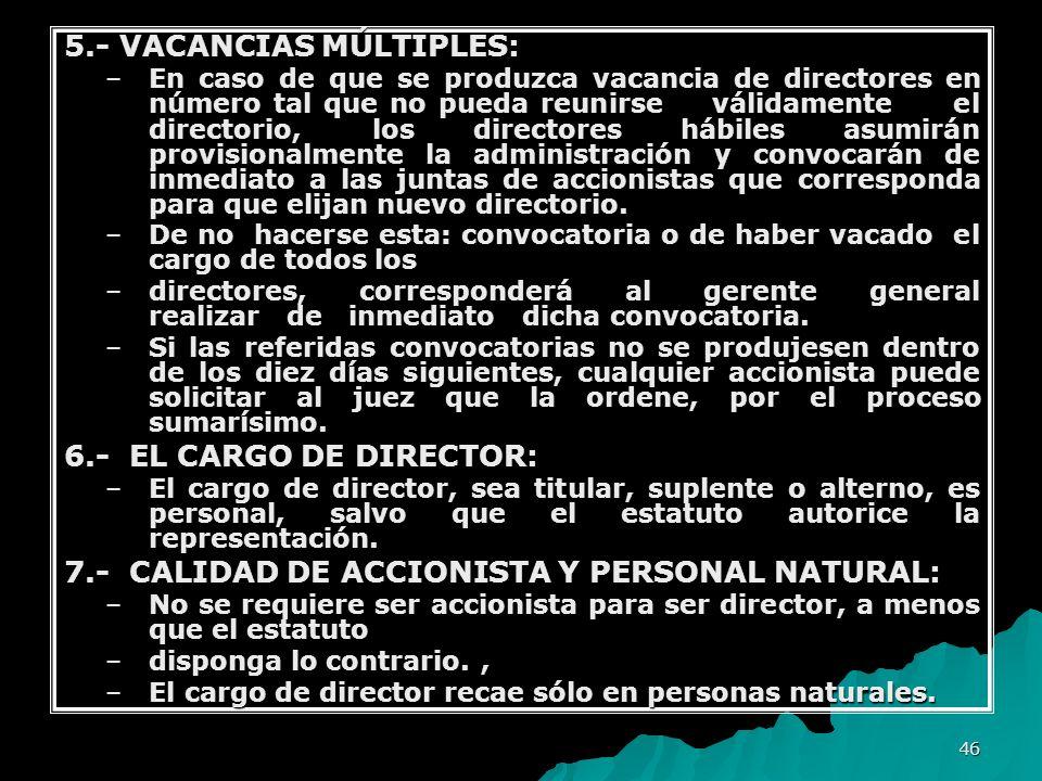 46 5.- VACANCIAS MÚLTIPLES: –En caso de que se produzca vacancia de directores en número tal que no pueda reunirse válidamente el directorio, los dire