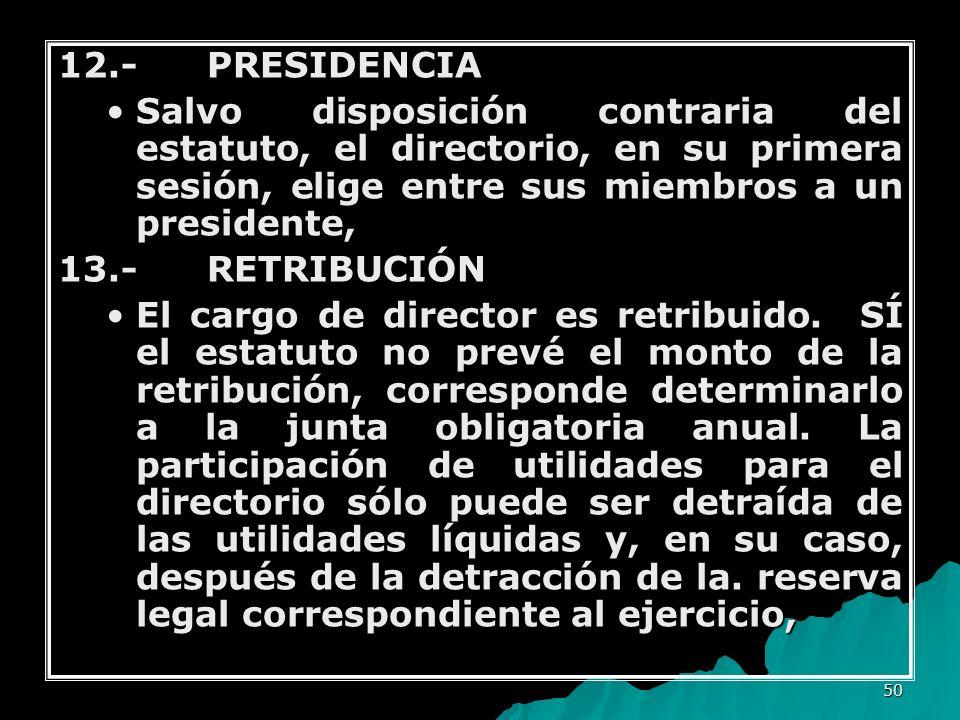 50 12.- PRESIDENCIA Salvo disposición contraria del estatuto, el directorio, en su primera sesión, elige entre sus miembros a un presidente,Salvo disp