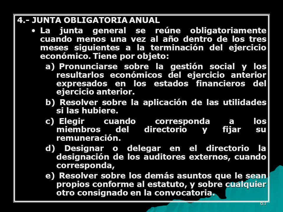 63 4.- JUNTA OBLIGATORIA ANUAL La junta general se reúne obligatoriamente cuando menos una vez al año dentro de los tres meses siguientes a la termina