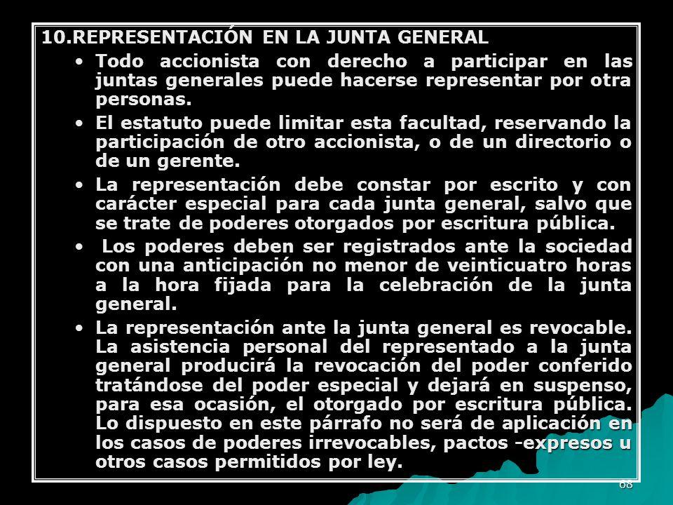 68 10.REPRESENTACIÓN EN LA JUNTA GENERAL Todo accionista con derecho a participar en las juntas generales puede hacerse representar por otra personas.
