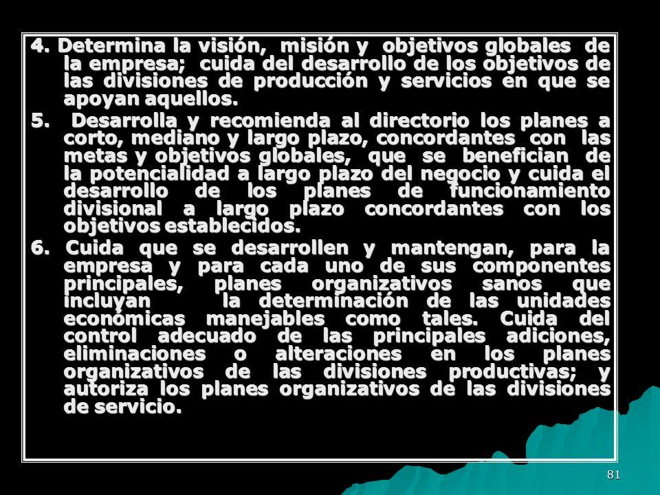 81 4. Determina la visión, misión y objetivos globales de la empresa; cuida del desarrollo de los objetivos de las divisiones de producción y servicio