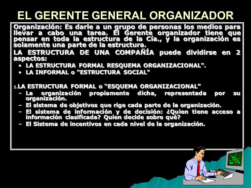 9 EL GERENTE GENERAL ORGANIZADOR Organización: Es darle a un grupo de personas los medios para llevar a cabo una tarea. El Gerente organizador tiene q