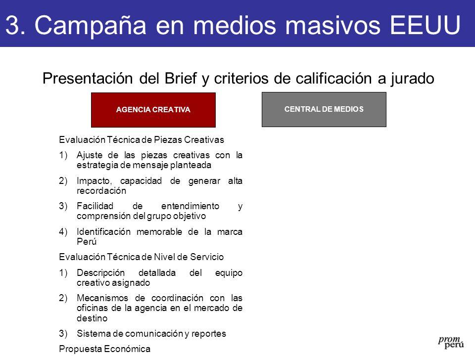 Presentación del Brief y criterios de calificación a jurado CENTRAL DE MEDIOS AGENCIA CREATIVA 3. Campaña en medios masivos EEUU Evaluación Técnica de