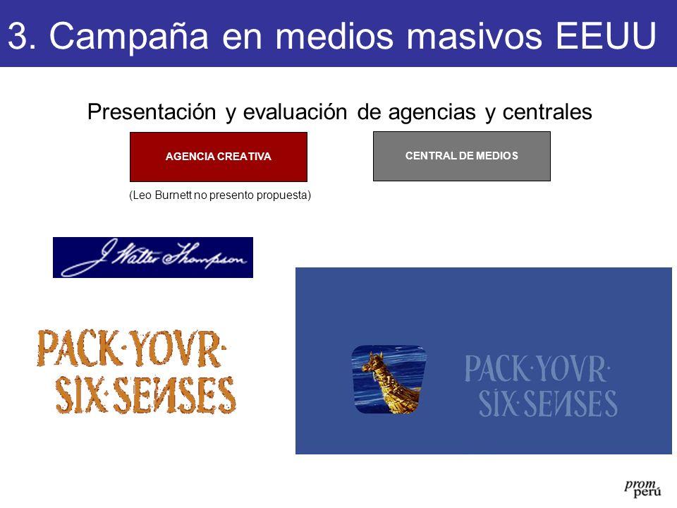 Presentación y evaluación de agencias y centrales CENTRAL DE MEDIOS AGENCIA CREATIVA 3. Campaña en medios masivos EEUU (Leo Burnett no presento propue