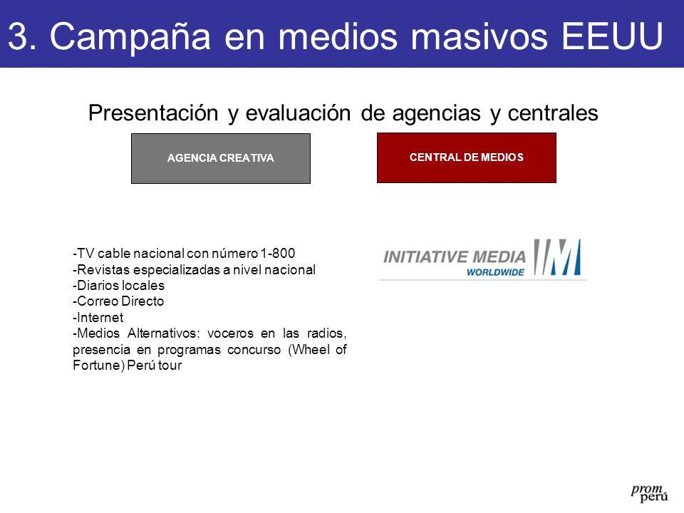 Presentación y evaluación de agencias y centrales CENTRAL DE MEDIOS AGENCIA CREATIVA 3. Campaña en medios masivos EEUU - TV cable nacional con número