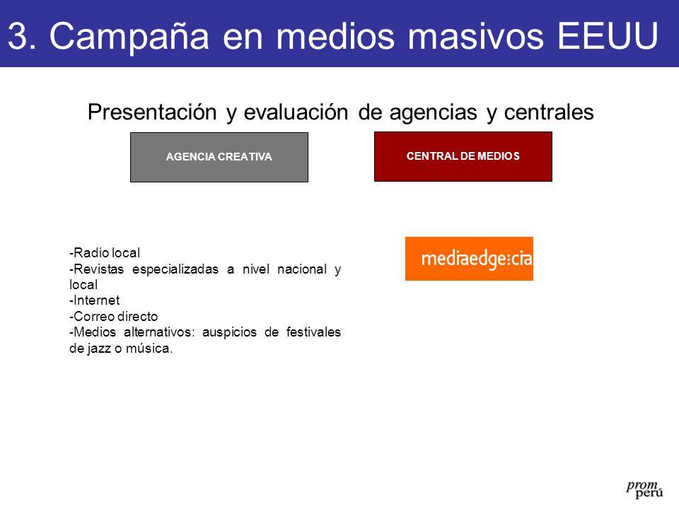 Presentación y evaluación de agencias y centrales CENTRAL DE MEDIOS AGENCIA CREATIVA 3. Campaña en medios masivos EEUU - Radio local - Revistas especi