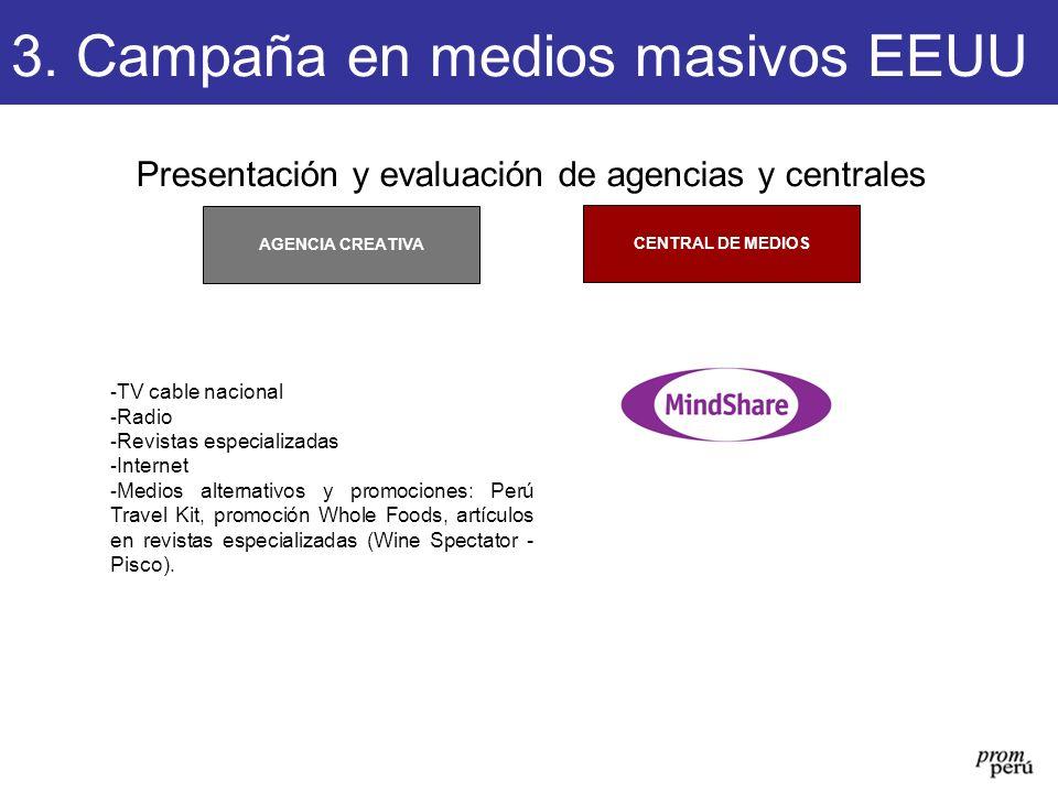 Presentación y evaluación de agencias y centrales CENTRAL DE MEDIOS AGENCIA CREATIVA 3. Campaña en medios masivos EEUU - TV cable nacional - Radio - R