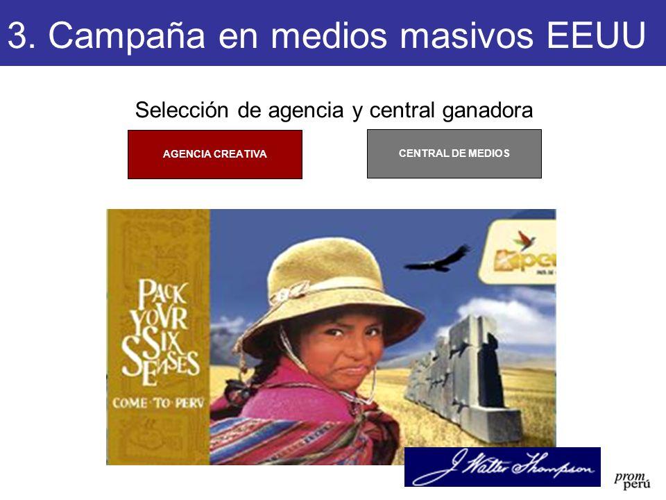 Selección de agencia y central ganadora CENTRAL DE MEDIOS AGENCIA CREATIVA 3. Campaña en medios masivos EEUU