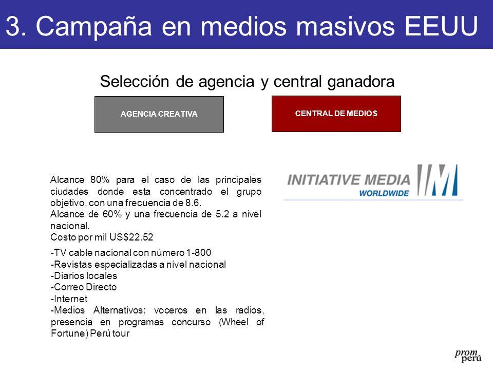 Selección de agencia y central ganadora CENTRAL DE MEDIOS AGENCIA CREATIVA 3. Campaña en medios masivos EEUU Alcance 80% para el caso de las principal
