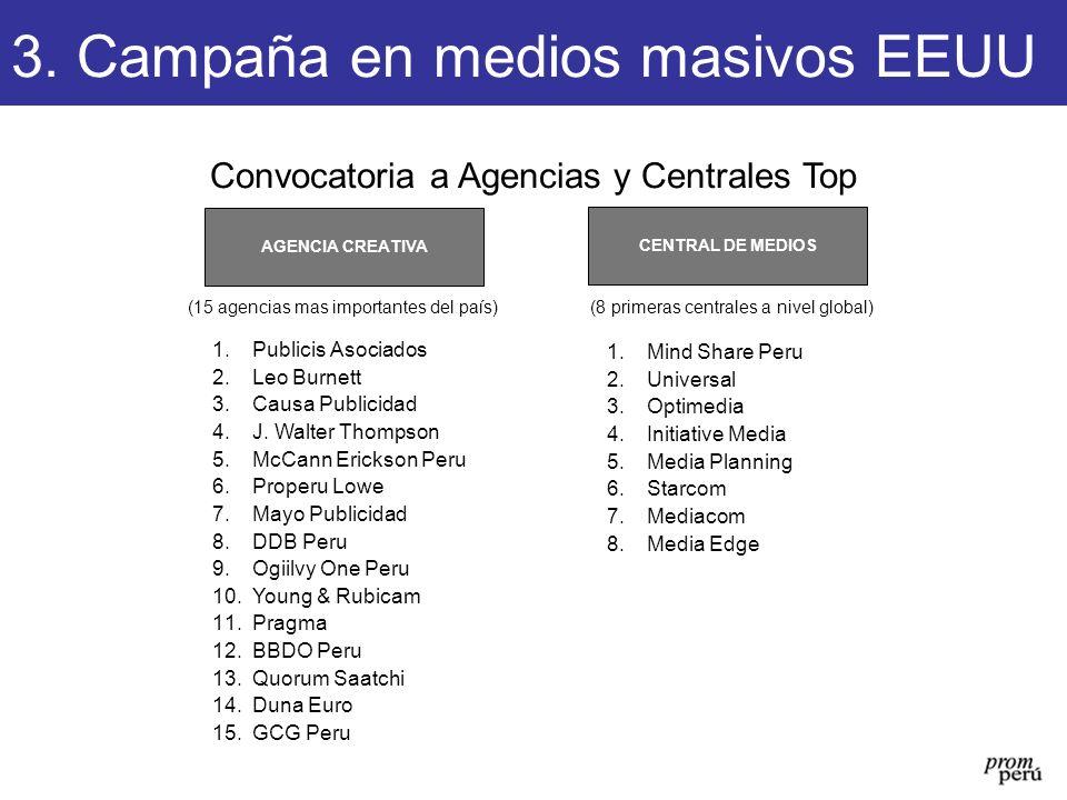 Convocatoria a Agencias y Centrales Top CENTRAL DE MEDIOS AGENCIA CREATIVA (15 agencias mas importantes del país)(8 primeras centrales a nivel global)