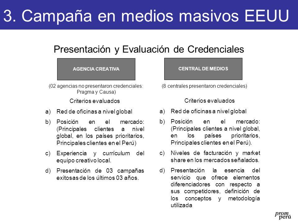 Presentación y Evaluación de Credenciales CENTRAL DE MEDIOS AGENCIA CREATIVA (02 agencias no presentaron credenciales: Pragma y Causa) (8 centrales pr