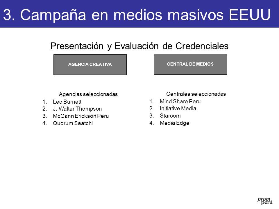 Presentación y Evaluación de Credenciales CENTRAL DE MEDIOS AGENCIA CREATIVA Agencias seleccionadas 1.Leo Burnett 2.J. Walter Thompson 3.McCann Ericks