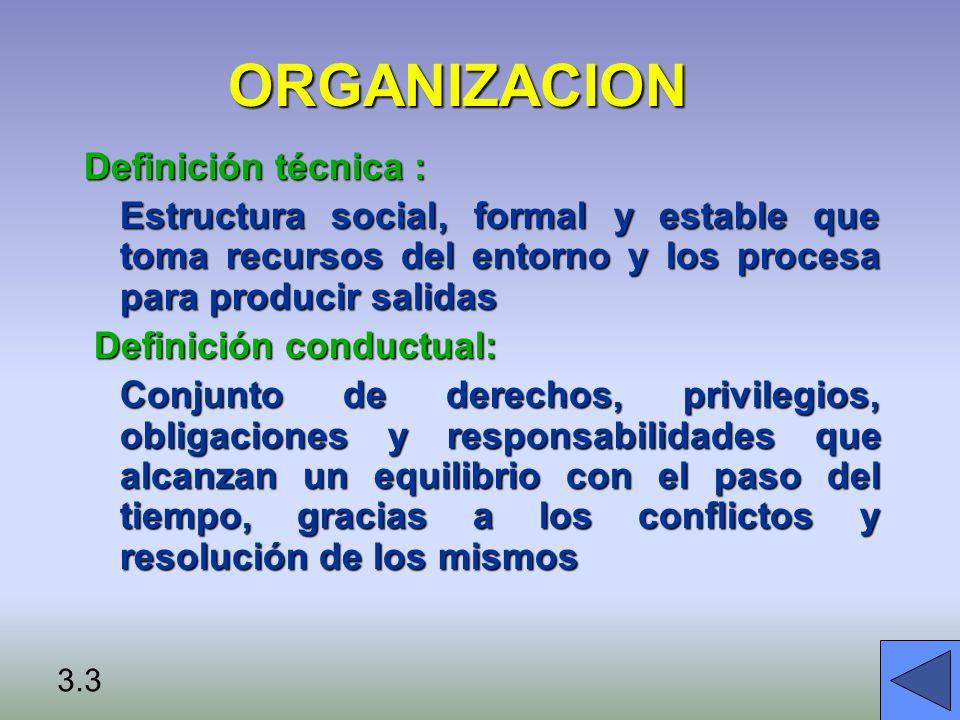 Recursos del entorno Salidas al entorno ESTRUCTURA: Jerarquía División del trabajo Reglas y procedimientos Procesos de negocios PROCESO: Derechos/Obligaciones Privilegios/Responsabilidades Valores Normas Personas * ORGANIZACIÓN – DEFINICIÓN CONDUCTUAL 3.4