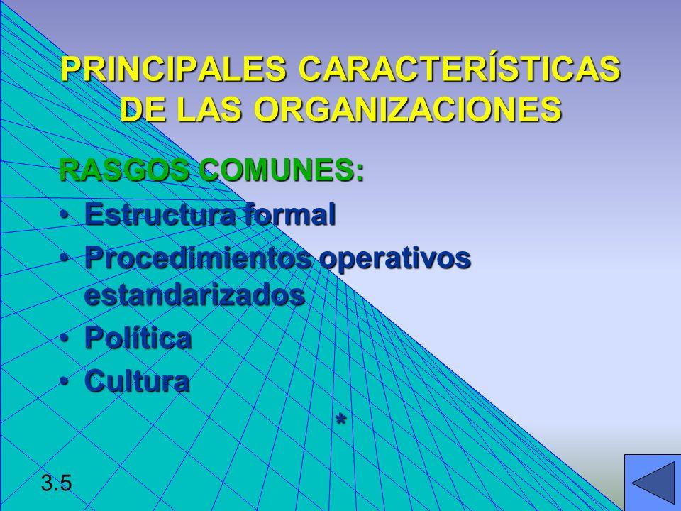 CARACTERISTICAS ESTRUCTURALES DE TODAS LAS ORGANIZACIONES Clara división del trabajo.Clara división del trabajo.