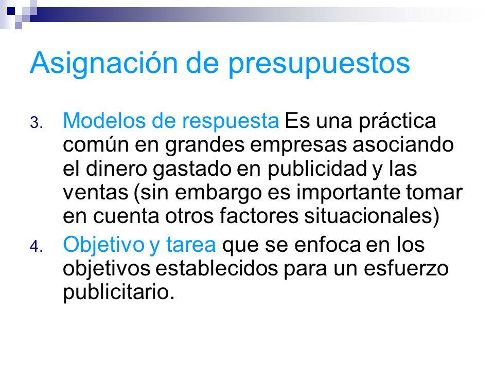 Asignación de presupuestos 3. Modelos de respuesta Es una práctica común en grandes empresas asociando el dinero gastado en publicidad y las ventas (s