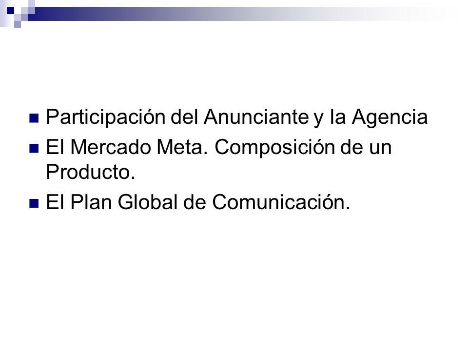 Participación del Anunciante y la Agencia El Mercado Meta. Composición de un Producto. El Plan Global de Comunicación.