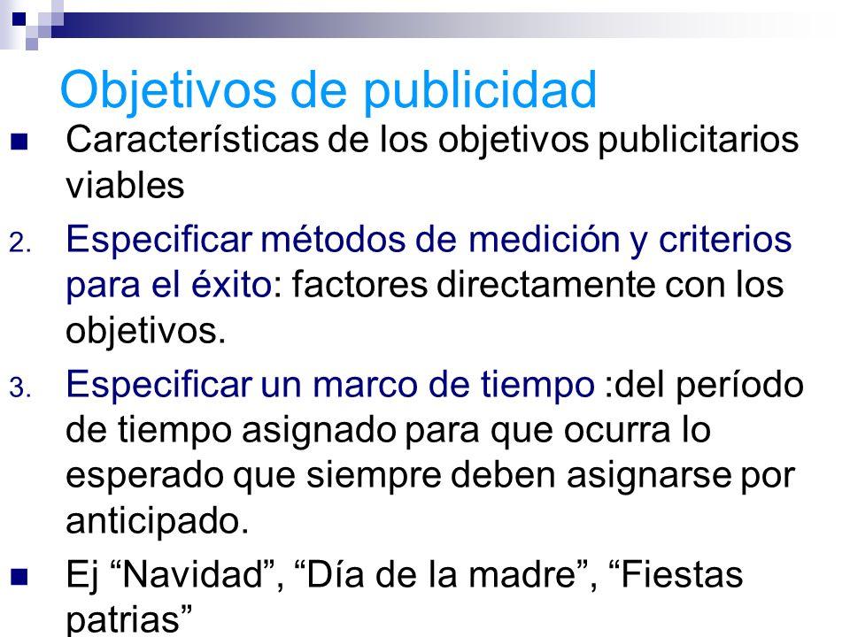 Objetivos de publicidad Características de los objetivos publicitarios viables 2. Especificar métodos de medición y criterios para el éxito: factores