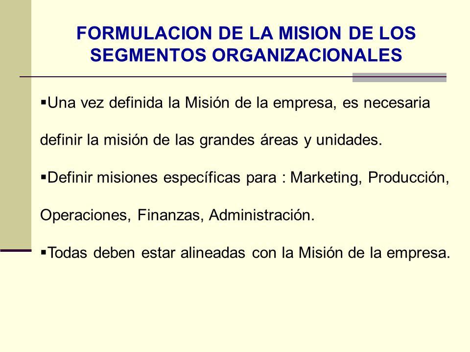 FORMULACION DE LA MISION DE LOS SEGMENTOS ORGANIZACIONALES Una vez definida la Misión de la empresa, es necesaria definir la misión de las grandes áre